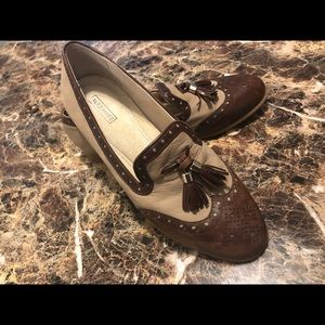 Alex Marie Brown & Tan Leather Loafers